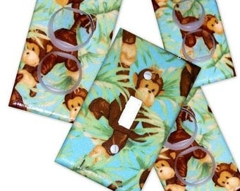 Jungle Babies Monkey Light Switch Plate/Outlet Covers Set w/plugs