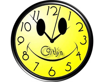 Happy Face - Smiley - Wall Clock - Personalized
