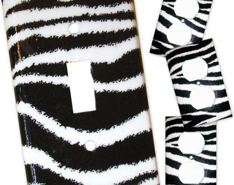 Zebra Print III Light Switch Plate/Outlet Covers 4 pc Set - Black and White