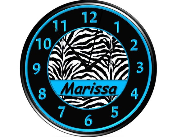 Turquoise/Black & White Zebra Print Wall Clock - Personalized - Aqua/Teal