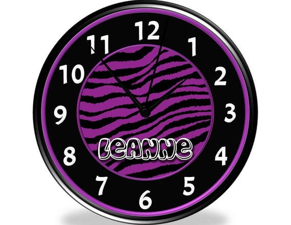 Purple & Black Zebra Print Personalized Wall Clock - Orchid - Medium Purple