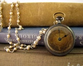 Keeping Time: Vintage Pocket Watch and Freshwater Pearl Necklace