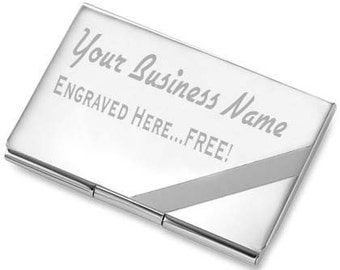 Custom Stripe Business Card Holder Free Engraved Gift with extra line engraving