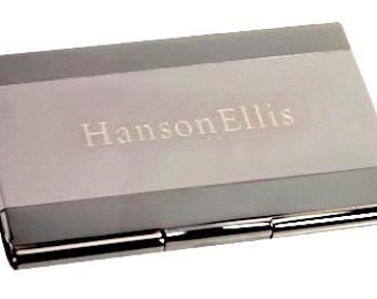 Custom 2-Toned Business Card Holder Free Engrave Gift Idea