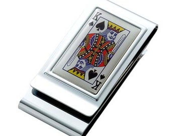 """Custom Engraved """"KING of Spades"""" Double Sided- Money Clip Gift"""