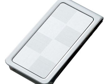 """2-Toned """"SILVER"""" Checker Money Clip with Free Engrave gift idea"""