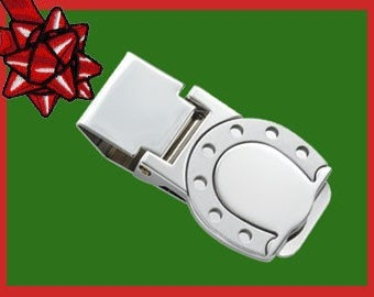 Custom FREE Engraved Horseshoe Style Money Clip Gift Idea