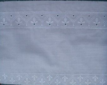 WHITE EMBROIDERED TRIM  ...  5 inch-wide 1 inch-pattern-repeat ... cotton made in usa ... BuY the Yard