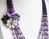Purple color Amethyst and shell flower necklace handcrafted JN21