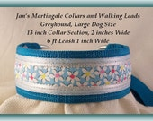 Large Dog Size Martingale Collar and Leash Combination Walking Lead, Turquoise, Greyhound