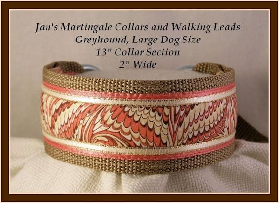Tan Martingale Walking Lead, Collar Leash Combination Greyhound, Large Dog Size