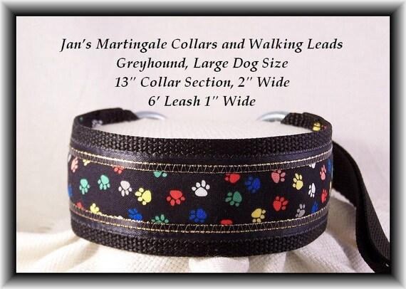 Martingale Dog Collar and Leash Combination , Greyhound, Large Dog Size, Black