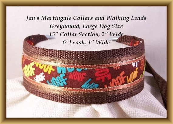 Large Size Martingale Collar and Leash Combination Walking Lead, Large Dog Size, Greyhound, Brown