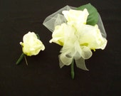 ON SALE NOW......... Ivory Flower Corsage and  Boutineer Set