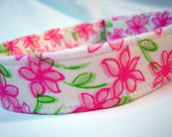 Lilly Pulitzer Fabric Dog Collar Girl Pink Daisy