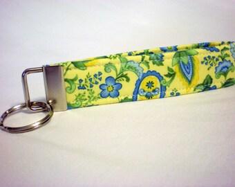 Yellow Blue Flowers Fabric Key Fob, Key Chain, Wristlet