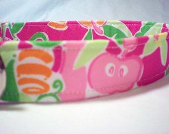 Lilly Pulitzer Fabric Dog Collar Pink Slatehouse Rock