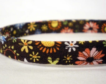 Pretty Brown Flowers Boy Girl Cat Collar