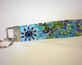 Blue Flowers Key Fob, Key Chain