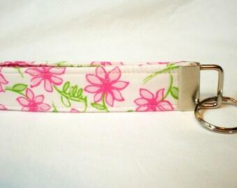 Lilly Pulitzer Key Fob Pink Daisy Fabric