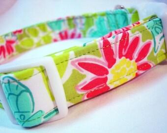 Lilly Pulitzer Fabric Dog Collar Hidden Garden Boy Girl Flowers Butterflies