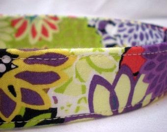 Purple Flowers Fabric Dog Collar Girl Boy Zinnias Dahlias