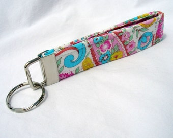 Pink Blue Flowers Fabric Key Fob Jennifer Paganelli Fabric