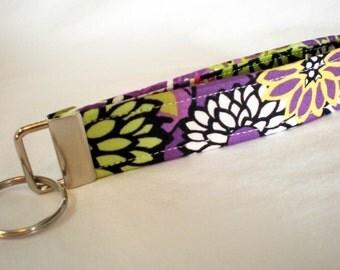Purple Flowers Fabric Key Fob Zinnias Dahlias