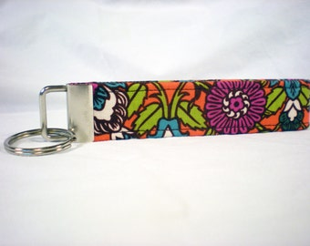 Orange Purple Flower Key Fob, Key Chain, Wristlet, Bridesmaid, Party Favor