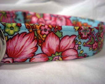 Pink Blue Roses Fabric Dog Collar Wedding Girl Boy