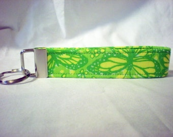 Vintage Lilly Pulitzer Fabric Green Yellow Butterflies Key Fob Keychain
