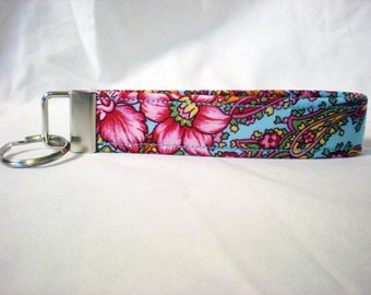 Pink Red Blue Roses Fabric Key Fob, KeyChains, Key Tags