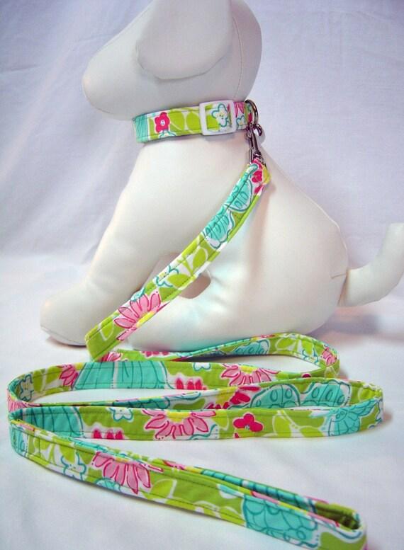 Dog Collar and Leash Set  Lilly Pulitzer Hidden Garden (green) Fabric