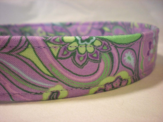 Purple Dog Collar Green Floral Paisley Fabric Boy Girl