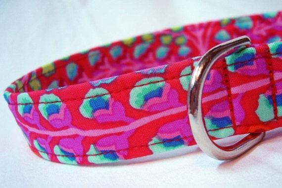 Dog Collar Kaffe Fassett Persian Vase Red Fabric Custom Handmade from PinkysPetGear on Etsy