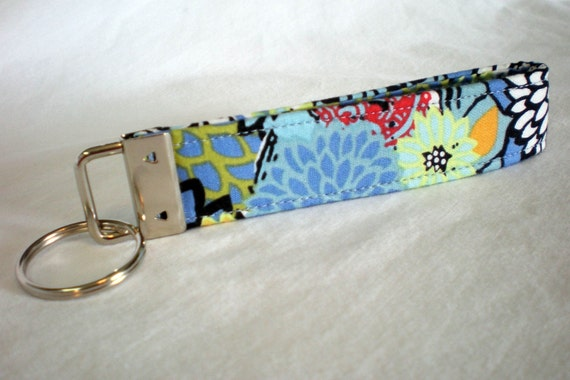 Blue Flowers Fabric Key Fob KeyChain Zinnias Dahlias