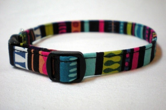 Striped Cat Collar Blue Green Magenta Teal Alexander Henry Fabric