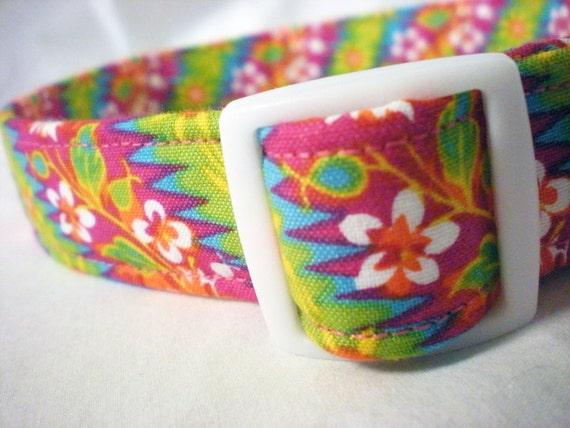 Pink Tropical Flowers Girl Dog Collar