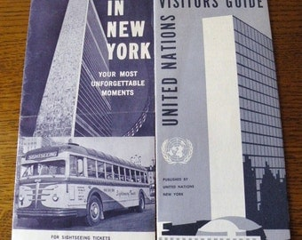 Two Early 1960s NEW YORK City Tourist Brochure plus UNITED Nations Visitors Guide