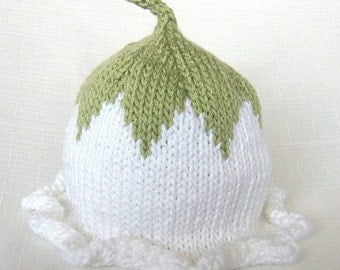 Flower Fairy Winter Hat, Knit Cotton Baby Hat, great photo prop