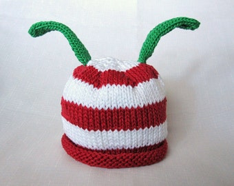 Knit Red and White Stripe Bah Humbug Cotton Baby Hat great photo prop