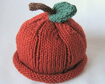READY TO SHIP Pumpkin Hat Pumpkin Spice, Knit Cotton Baby Hat great photo prop