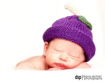 Knit Baby Plum Fruit Hat great photo prop