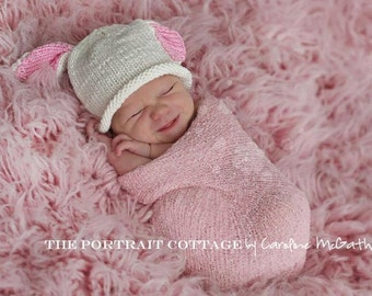Boston Beanies Bunny Hat, Knit Pink White Cotton Baby Hat, great photo prop