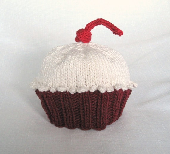 Cupcake Hat Red Velvet, Knit Cotton Baby Hat, great photo prop
