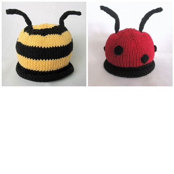 Baby Bumble Bee and Ladybug hat pattern, knit, Boston Beanies from BostonBean...