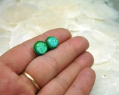 Small Studs in Lime Green Dichroic Fused Glass Post Earrings, Boho Chic, Fused Glass Posts, Beach Earrings, Lime Green Posts, Stud Earrings