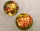Fused Glass Post Earrings, Dichroic Glass, Sparkling Warm Pink Coral, Peach, Copper Salmon,