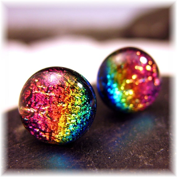 Sparkling Dichroic Glass Rainbow Stud Earrings, Boho Chic, Fused Glass Post, Stud Earrings, Beach Stud Earrings, Pink Rainbow Studs,