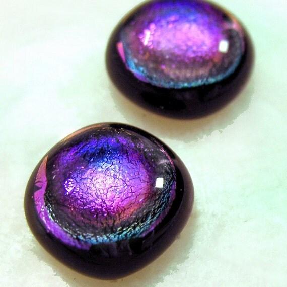 Sparkling Purple Dichroic Glass Fused on Black Glass Stud Earrings